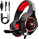 Beexcellent Gaming Headset for PS4 Xbox One, 2019 New Pro Gaming Headphone with Anti-Noise Mic, Surround Sound, Memory Foam Earmuff, Led Light for PC Mac Laptop-Red