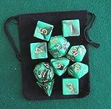 Night Elf (Green / Black) RPG D&D Dice Set: 7 + 3d6 = 10 polyhedral die plus bag! by Dave's Dice