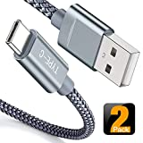 USB Type C Cable,Snowkids USB C Cable 6.6Ft(2 PACK) Nylon Braided Cord USB Type A to C Fast Charger for Samsung Galaxy S10 S9 S8 plus Note 9 8,Moto Z,LG V30 V20 G5,Nintendo Switch,OnePlus 5 3T(Grey)