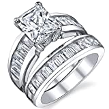 Sterling Silver 3 Carat Radiant Cut Cubic Zirconia Engagement Ring Wedding Bridal Set Rings With CZ 4