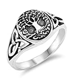 Antiqued Celtic Tree of Life Knot Filigree Ring Sterling Silver Band Size 11