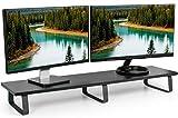 VIVO Black Wood 39' Wide Extra Long Desktop Stand Ergonomic TV, Dual Monitor, Laptop, Keyboard Riser & Desk Tabletop Organizer (STAND-V000DL)