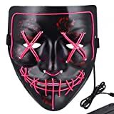 Anroll Halloween Mask LED Light Up Mask for Festival Cosplay Halloween Costume Pink