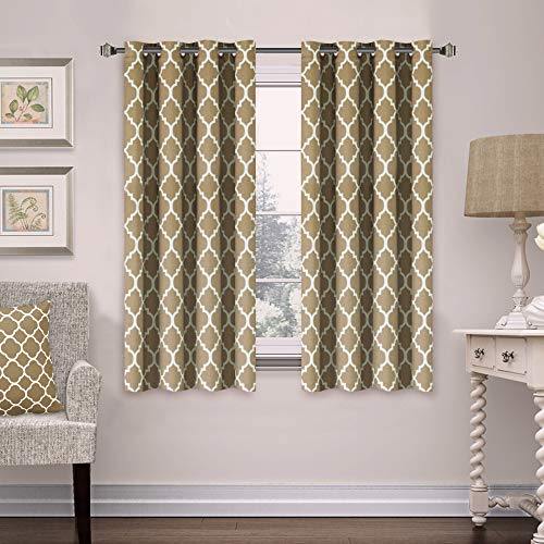 Flamingo P Microfiber Noise Reducing Thermal Insulated Moroccan Blackout Drapes Printed Window Curtains for Living Room, Grommet Top, Set of Two Panels, 52 x 96 Inch- Mild Gray