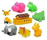 Dollibu Bath Buddies Noahs Ark and Critters Rubber Squirter Toys - Boat, Elephant, Lion, Giraffe, Alligator, Fox, Hippo, Frog - 3 inch - For Baths, Pool, Outdoor - Baby Bathtime Learning (8pc Set)