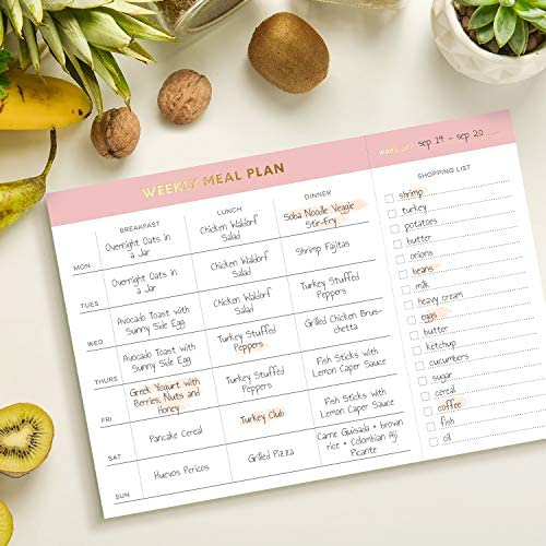 """Sweetzer & Orange Weekly Meal Planner and Grocery List Magnetic Notepad. Pink 10x7"""" Meal Planning Pad with Tear Off Shopping List. Plan Weekly Menu Food for Weight Loss or Dinner List for Family! 8"""