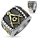 Freemasons Masonic IP Gold and Burnished Square Face Stainless Steel Casting Ring (13)