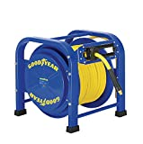 GOODYEAR Air/Water Hose Reel Retractable Spring Driven Steel ELITE Portable Heavy Duty Industrial Longest Quad Pod 3/8' inch x 100 FT Premium Commercial Flex Hybrid Polymer 300 Psi / 20 Bar