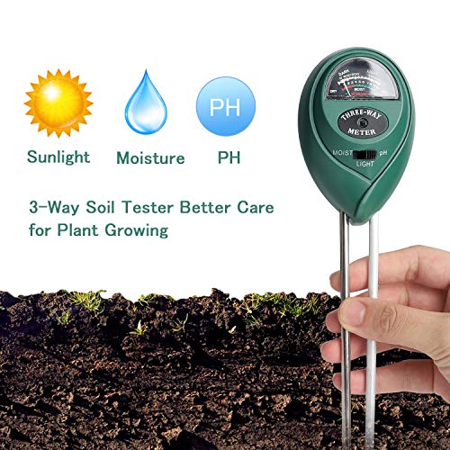 Besmon Soil Moisture Sensor Meter,Soil Test Kit Plant Moisture Meter 3-in-1 Soil pH Tester for Plant Care,Gardening, Farming, No Batteries Required