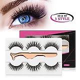 MAANGE 3 Styles Fake Eyelashes Handmade 3D & 5D False Eyelashes Reusable Eyelashes for Natural Look with Rose Golden Lash Applicator - 3 Pairs