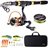 Sougayilang Telescopic Fishing Rod Reel Combos Portable Fishing pole with Spinning Reel Fishing Carrier Bag for Travel Saltwater Freshwater Fishing