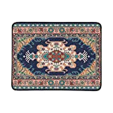 GIRLOS Colorful Oriental Mosaic Rug Traditional Folk Portable and Foldable Blanket Mat 60x78 Inch Handy Mat for Camping Picnic Beach Indoor Outdoor Travel