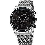 Akribos XXIV Men's Swiss Quartz Multifunction Watch - 3 Subdials On a Sunray Dial and Shark Mesh Stainless Steel Bracelet - AK919