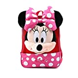 Disney Mickey Minnie Mouse Finger Backpack with a Removable Strap Safety Harness to Prevent Children from Going Missing (Pink Minnie)