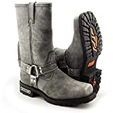 Xelement LU1605 Men's 13in Stone Wash Black Leather Harness Motorcycle Boots - 10.5