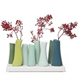 Chive - Pooley 2, 7.25' Long 3' Wide 4.5' Tall Unique Rectangle Ceramic Flower Vase, Small Bud Decorative Floral Vase Home Decor Centerpieces, Arranging Bouquets, Connected Tubes (Chartreuse Green)
