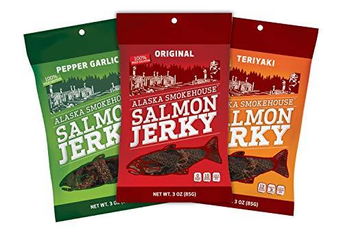 Alaska Smokehouse Smoked Salmon Jerky Trio Original, Pepper Garlic Teriyaki, 9 Ounce