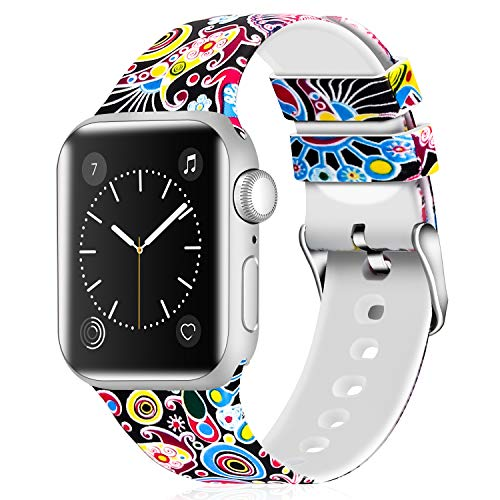Greatfine Sport Band Compatible for Apple Watch Band 38mm 42mm 40mm 44mm,Soft Silicone Strap Replacement iWatch Bands Compatible with Apple Watch Series 4 3 2 1 (Folk Custom, 38mm/40mm)
