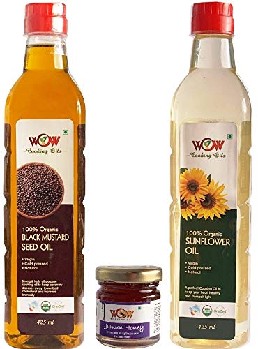 51KwUDOfVAL - WOW Cooking Oils Certified Organic Cold Pressed Black Mustard Seed & Sunflower Cooking Oil - 425 ml x 2 Combo with Free 55 GMS Raw Jamun Forest Honey