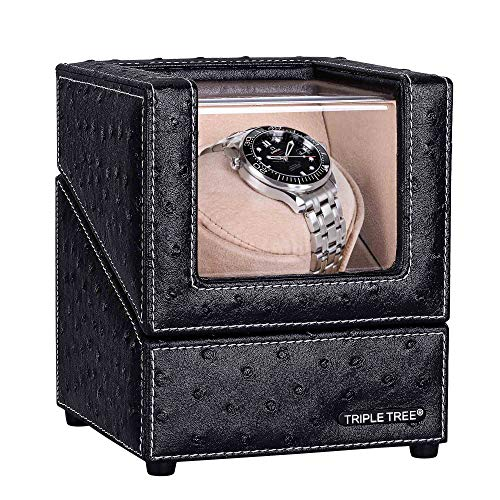Single Watch Winder Newly Upgraded, with Flexible Plush Pillow, in Wood Shell and Black Leather, Japanese Motor, 4 Rotation Mode Setting, Fit Lady and Man Automatic Watch…
