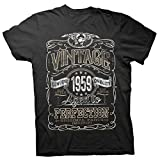 60th Birthday Gift Shirt - Vintage Aged to Perfection 1959 - Black-001-Lg