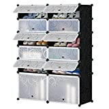 Honey Home Modular Shoe Rack, 12 Cubes Plastic Free Standing DIY Storage Organizer Portable Shoes Cabinet Bookcase with Doors,Black & White Curly Pattern