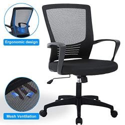 Ergonomic Desk Chair Mid Back Mesh Chair Height Adjustable Office Chair,Home Office Chair Modern Task Computer Chair with Armrests Executive Rolling Swivel Chair with Casters,Black