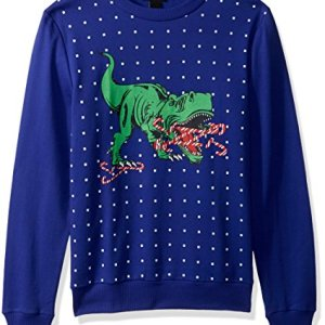 Alex Stevens Men's Candy Cane T-rex Ugly Christmas Sweater