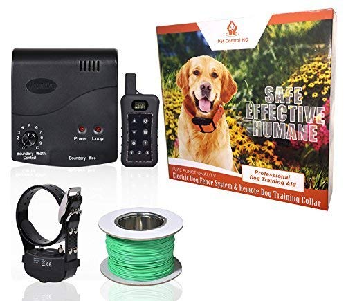 Wireless Combo Electric Dog Fence System with Remote Dog Training Collar by PetControlHQ, Containment System, Waterproof, Rechargeable Dog Shock Collar & Invisible Wire Fence 1