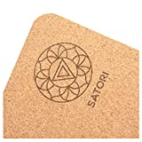 SatoriConcept Cork Yoga Mat - 100% Eco Friendly Cork & Rubber, Lightweight with Perfect Size (72' x 24') and 4mm Thick, Non Slip, Sweat-Resistant, Innovative Exercise Mat for Hot Yoga, Outdoor Fitness
