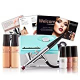 Luminess Air Aqua & White Legend Airbrush System with 5-Piece Silk 4-IN-1 Deluxe Airbrush Foundation & Cosmetic Starter Kit, Fair