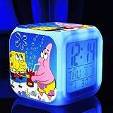 SpongeBob SquarePant Patrick Star Digital Alarm Desktop Clock with 7 Changing LED Clock Colorful Toys for Kids (Style 3)
