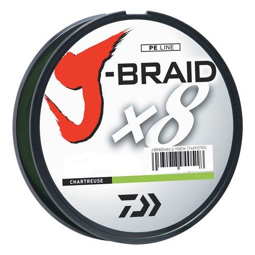 Daiwa JB8U15-300CH J-Braid Braided Line, 15 Lbs Tested, 330 yd/300M Filler Spool, Chartreuse