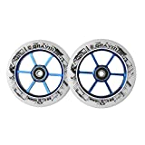 GRAVITI One Pair 110mm Pro Stunt Scooter Wheels ABEC-9 Bearings CNC Metal Core (2pcs)(white pu blue core)