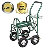 PayLessHere Garden Water Hose Reel Cart Garden Cart with Heavy Duty 300FT Hose Yard Water Planting
