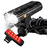 Te-Rich Rechargeable Bike Lights Front and Back - Ultra Bright Bicycle Headlight and Taillight Set, Quick Release Cycling Flashlight, Road/Mountain/City Bike Accessories for Men/Women/Kids