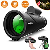 Monocular Telescope, 12X50 High Power HD Monocular with Smartphone Holder & Tripod - [2019 Newest] Waterproof Monocular with Durable and Clear FMC BAK4 Prism for Bird Watching, Camping, Hiking, Match