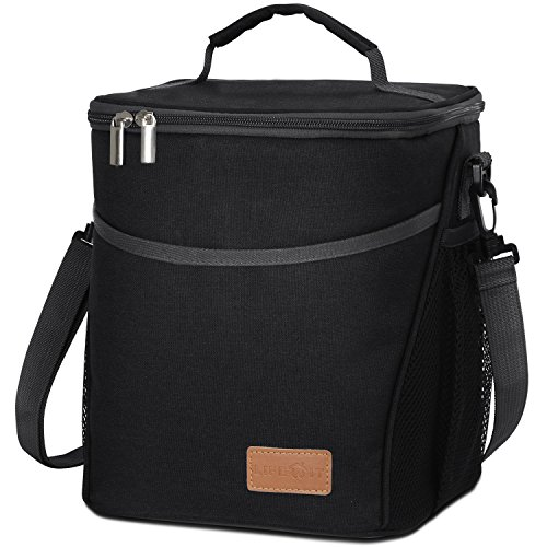 Lifewit Insulated Lunch Box Lunch Bag for Adults Men Women, 9L (12-Can) Soft Cooler Bag, Water-Resistant Leakproof Thermal Bento Bag for Work/School/Picnic, Black