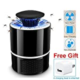 AICase Electric Mosquito Killer with Trap Lamp, Chemical-Free USB Powered UV LED Light Photocatalyst Fly Bug Dispeller with Suction Fan for Indoor Home-Black