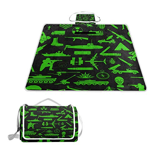 YCHY Military Background Seamless Pattern Elements Armored Picnic Mat Sandproof and Waterproof Outdoor Picnic Blanket for Camping Hiking Beach Grass Travel