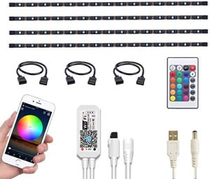 WOTECH Smart TV LED Backlight Compatible with Alexa and Google Home, 6.6ft USB RGB WiFi LED Strip Lights Kit 4 Pcs Flexible SMD5050 Tape Light Bias Lighting for Kitchen, Bedroom DC 5V