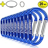 2.7' Aluminum D Ring Carabiners Clip D Shape Spring Loaded Gate Small Keychain Carabiner Clip Set for Outdoor Camping Mini Lock Snap Hooks Spring Link Key Chain Durable Improved 20 PCS (Blue)