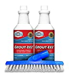 IT JUST Works! Grout-EEZ Super Heavy Duty Tile & Grout Cleaner and brightener. Quickly Destroys Dirt & Grime. Safe for All Grout. Easy to Use. 2 Pack with Free Stand-Up Brush. The Floor Guys