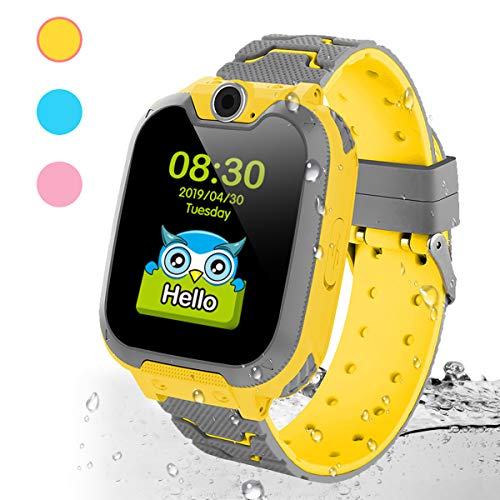 Deyawe Kids Smart Watch Phone,Colorful Touch Screen Smartwatch with Camera Games Touch Screen SOS Call Voice Chatting Christmas Birthday Gift (Yellow)