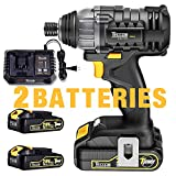 Impact Driver, TECCPO, 2X2.0Ah Batteries, 30 Minutes Fast Charger 4A, 1600In-lbs 20V MAX Impact Drill, 1/4' All-metal Hex Chuck, 0-2900RPM Variable Speed, Tool Bag Included - TDID01P