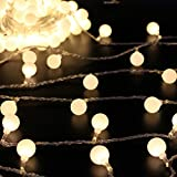 50 Leds 16 Feet Globe LED String Lights Battery Powered Indoor Outdoor Decorative Fairy Lights Curtain for Patio, Gardens, Bedroom, Wedding, Party (Warm White)