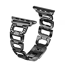 Secbolt Bling Band Compatible Apple Watch Band 42mm 44mm iWatch Series 4, Series 3, Series 2, Series 1, Diamond Rhinestone Stainless Steel Metal Wristband Strap 4 Colors Available