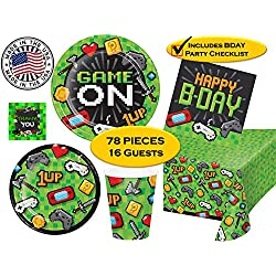 Video Gaming Game ON Birthday Party Supplies for 16 guests - Dinner & Dessert Plates, Napkins, Cups, Tablecover & Thank You Stickers - 78 pieces + Checklist - MADE IN THE USA