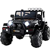 Uenjoy Ride on Car 12V Battery Power Children's Electric Cars Motorized Cars for Kids with Wheels Suspension,Remote Control, 4 Speeds, Head Lights,Music,Bluetooth Remote Controller,Black