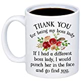 MyCozyCups Gifts For Boss Lady - Thank You For Being My Boss Lady Coffee Mug - Funny Unique 11oz Idea Cup For Employers, Managers, Women From Employee - Great Christmas, Birthday Gift For Boss Ladies